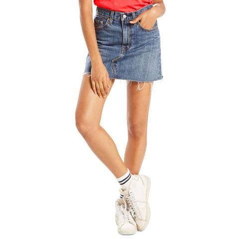 Levi's Blue Deconstructed Denim Skirt