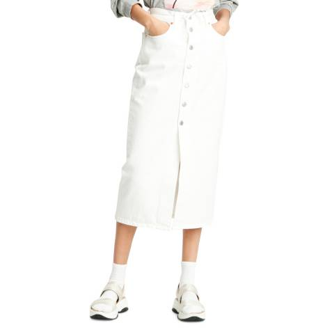 Levi's White Button Front Midi Denim Skirt