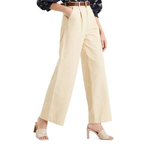 Levi's Cream Pleated High Rise Jeans