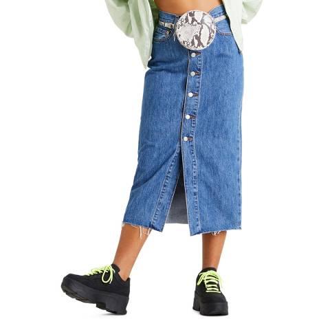 Levi's Blue Button Front Midi Denim Skirt