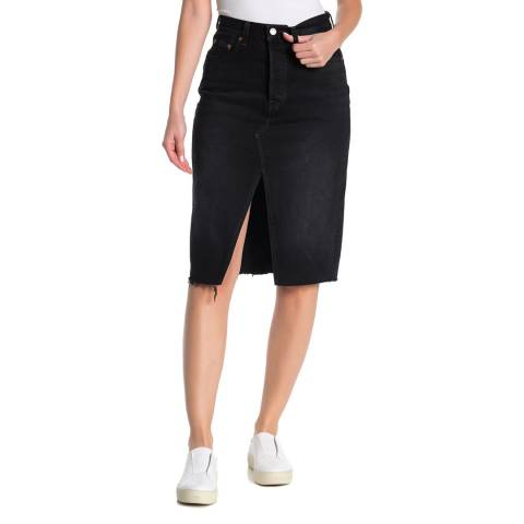 Levi's Black Deconstructed Denim Midi Skirt