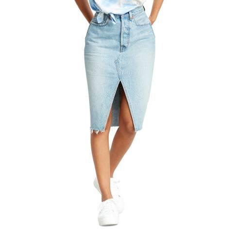 Levi's Blue Deconstructed Denim Midi Skirt