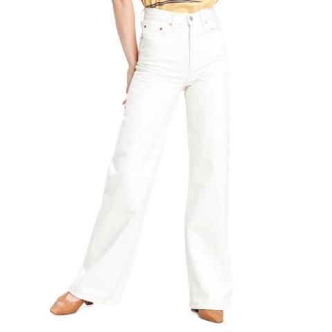 Levi's White Ribcage Wide Leg Jeans