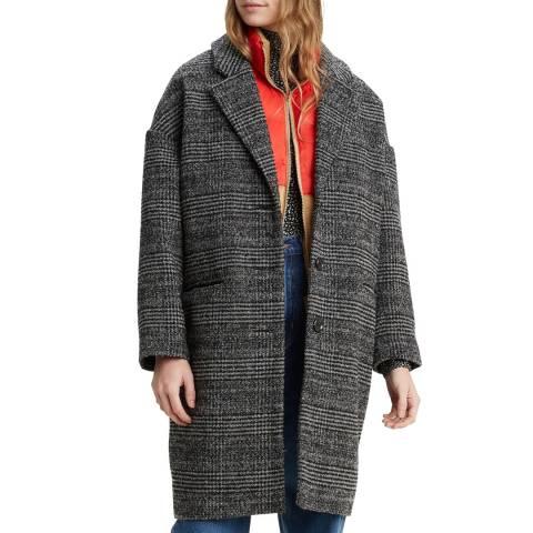 Levi's Charcoal Plaid Cocoon Wool Blend Coat