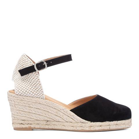 Paseart Black Suede Spanish Espadrille Sandal