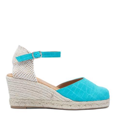 Paseart Blue Croc Suede Spanish Espadrille Wedge Sandal