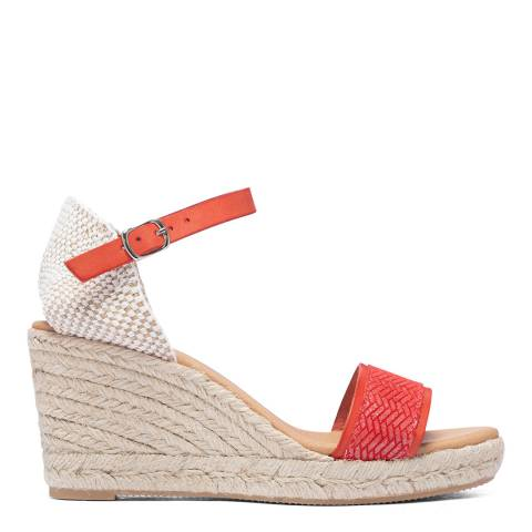 Paseart Red Braided Espadrille Wedge Sandal