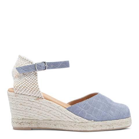 Paseart Light Blue Croc Suede Spanish Wedge Espadrille Sandal
