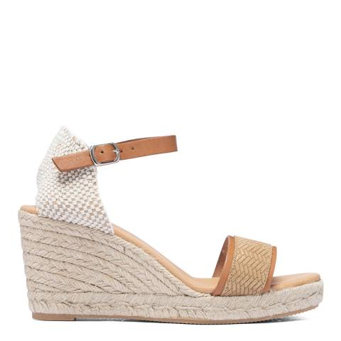 Paseart Gold Braided Espadrille Wedge Sandal