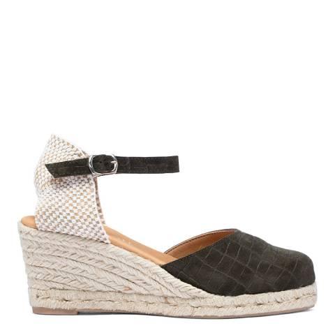 Paseart Black Olive Croc Suede Espadrille Sandal