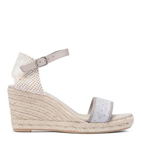 Paseart Silver Topos Espadrille Wedge Sandal