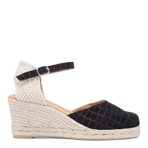 Paseart Black Croc Suede Espadrille Wedge Sandal