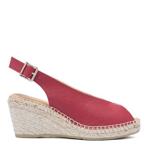 Paseart Deep Red Paris Slingback Espadrille Wedge Sandal