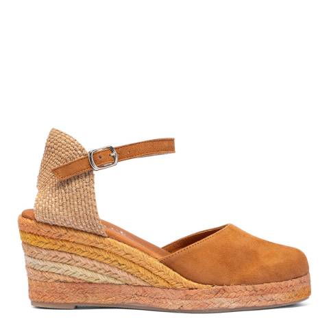 Paseart Tan Suede Espadrille Wedge