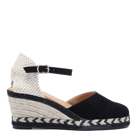 Paseart Black Suede Espadrille Wedge