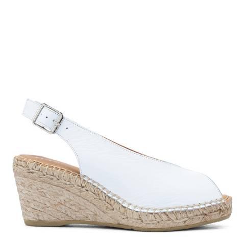 Paseart White Paris Slingback Espadrille Wedge Sandal