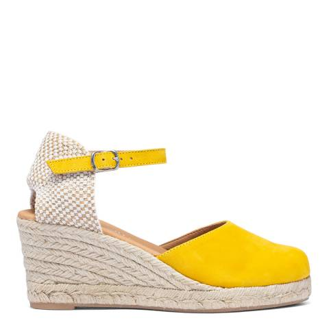 Paseart Yellow Suede Spanish Espadrille Wedge Sandal
