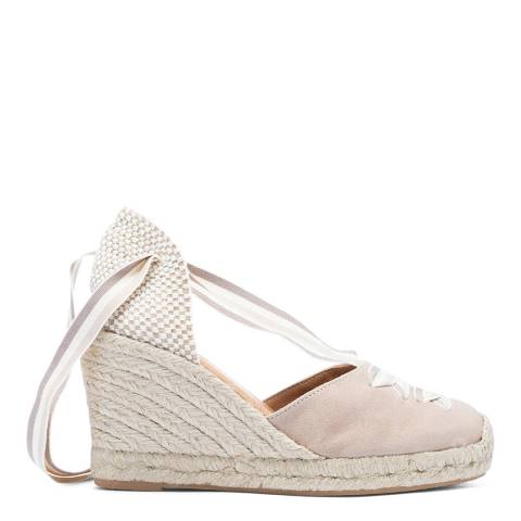 Paseart Taupe Suede Spanish Ankle Tie Espadrille Wedge