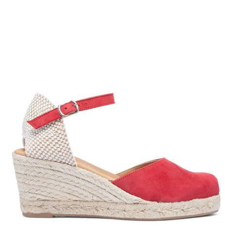 Paseart Red Suede Spanish Wedge Espadrille Sandal
