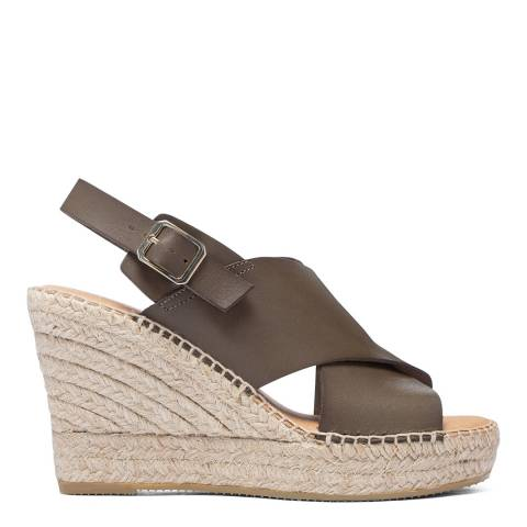 Paseart Brown Leather Wedge Espadrille Sandal