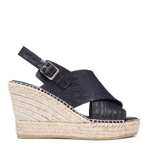 Paseart Black Croc Wedge Espadrille Sandal