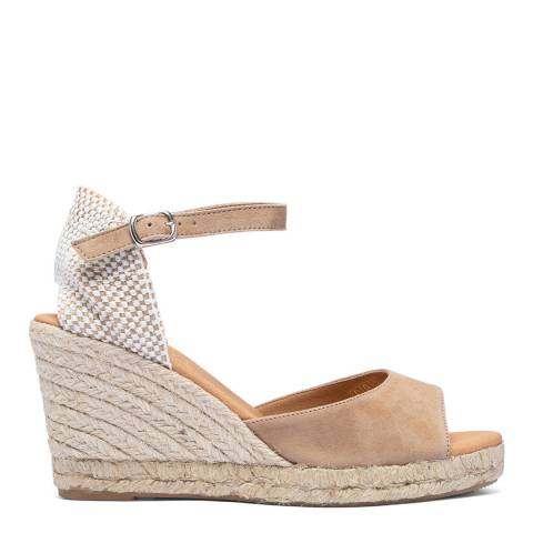 Paseart Taupe Suede Spanish Wide Strap Espadrille Wedge
