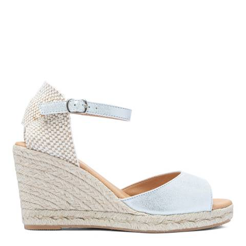 Paseart Silver Suede Spanish Espadrille Sandal