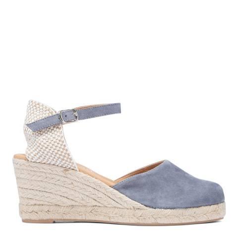 Paseart Light Blue Suede Spanish Wedge Espadrille Sandal