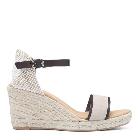 Paseart Taupe Suede Spanish Single Strap Wedge Espadrille Sandal