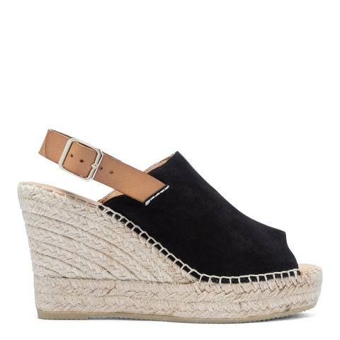 Paseart Black Suede Wedge Espadrille Sandal