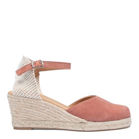 Paseart Rust Pink Suede Spanish Wedge Espadrille Sandal