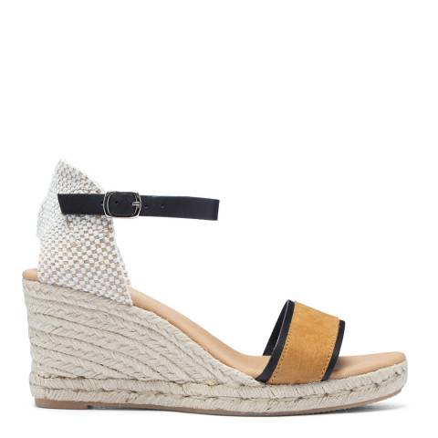 Paseart Tan Suede Spanish Single Strap Wedge Espadrille Sandal