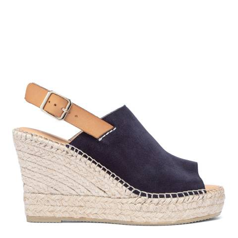 Paseart Navy Blue Suede Wedge Espadrille Sandal
