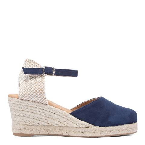 Paseart Blue Suede Spanish Wedge Espadrille Sandal