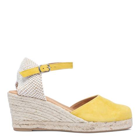 Paseart Yellow Suede Spanish Wedge Espadrille Sandal