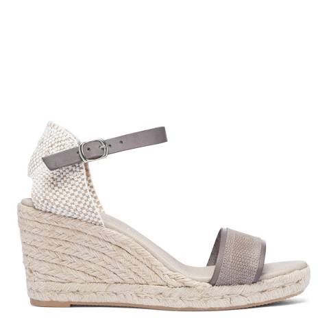Paseart Grey Reptile Print Espadrille Wedge