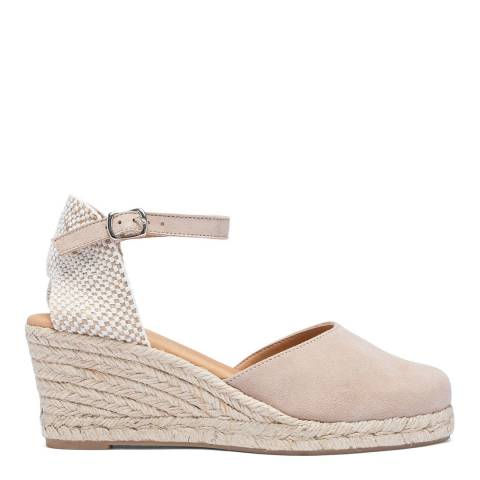 Paseart Taupe Suede Spanish Wedge Espadrille Sandal
