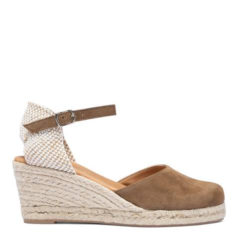 Paseart Brown Suede Spanish Wedge Espadrille Sandal