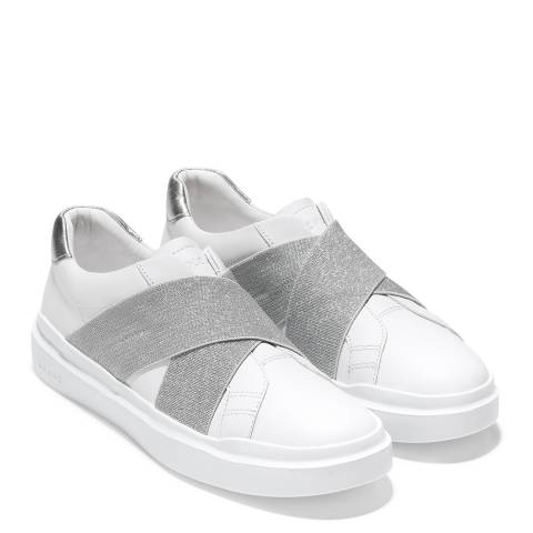 Cole Haan White/Silver GrandPro Rally Slip On Sneaker