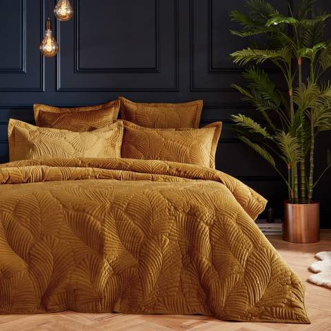 Paoletti Palmeria Double Quilted Duvet Cover Set, Gold