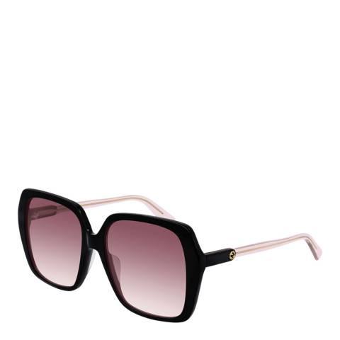 Gucci Women's Black/Pink Gucci Sunglasses 56mm