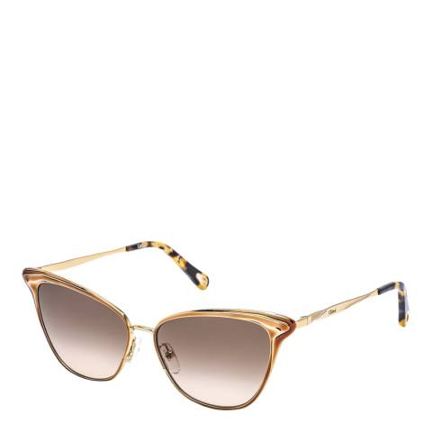 Chloe Women's Brown/Gold Chloe Sunglasses 56mm