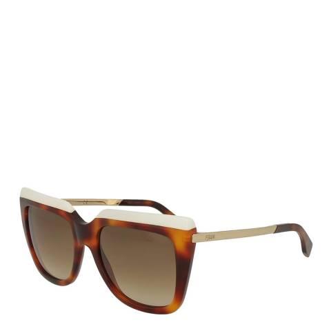 Fendi Women's White/Havana Fendi Sunglasses 53mm