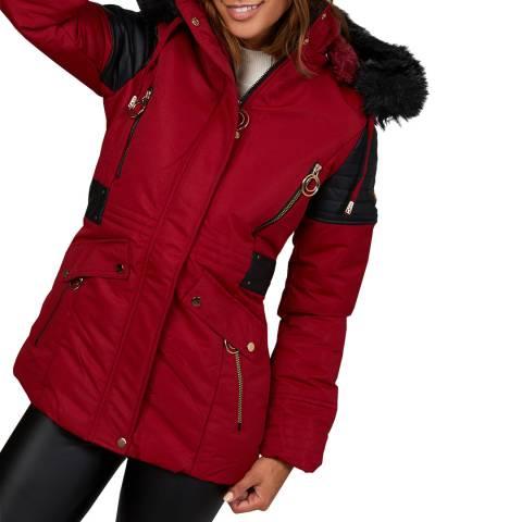 Comptoir du Manteau Red Faux Fur Puffer Coat