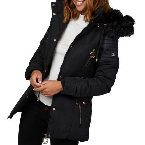 Comptoir du Manteau Black Faux Fur Puffer Coat