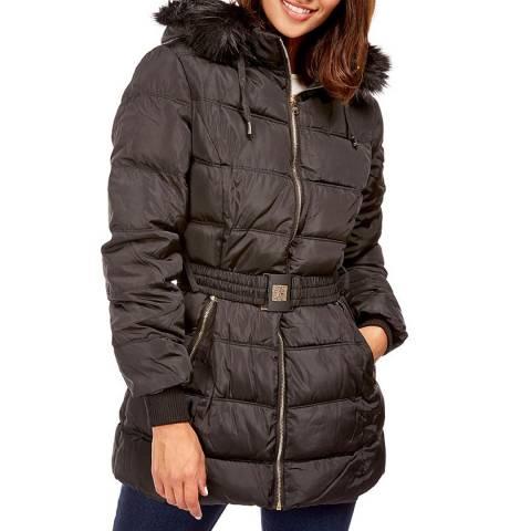 Comptoir du Manteau Black Belted Puffer Coat