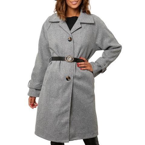 Comptoir du Manteau Grey Wool Blend Buttoned Coat