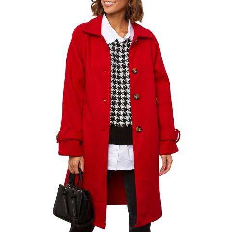 Comptoir du Manteau Red Wool Blend Buttoned Coat