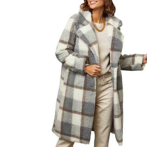 Comptoir du Manteau Grey Checked Print Long Coat