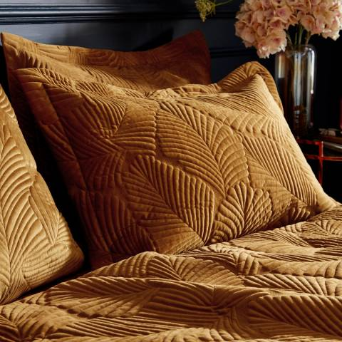 Paoletti Palmeria Quilted Pillowcase, Gold